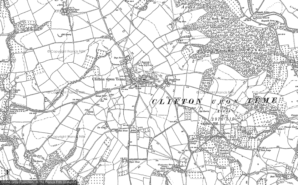 Old Map of Clifton upton Teme, 1883 in 1883