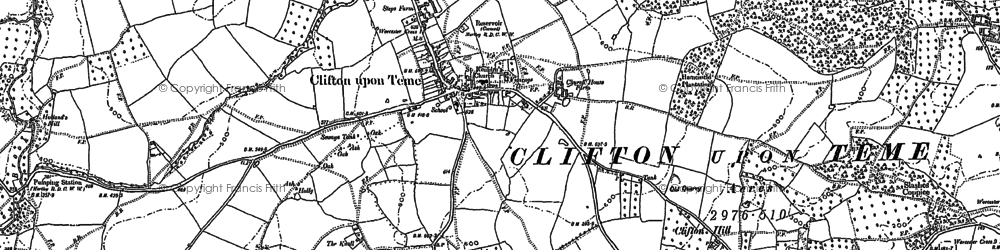 Old map of Clifton upon Teme in 1883
