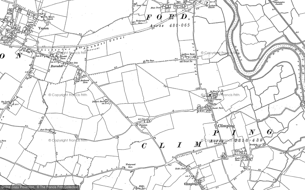 Old Map of Historic Map covering Atherington in 1878