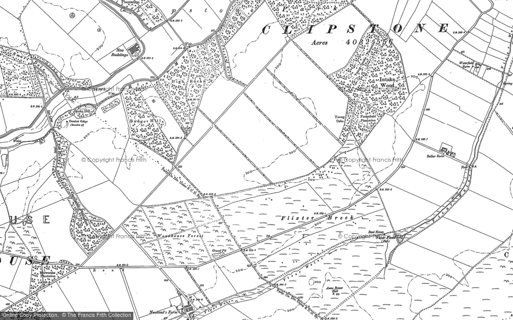 Old Map of Historic Map covering Badger Hill in 1884