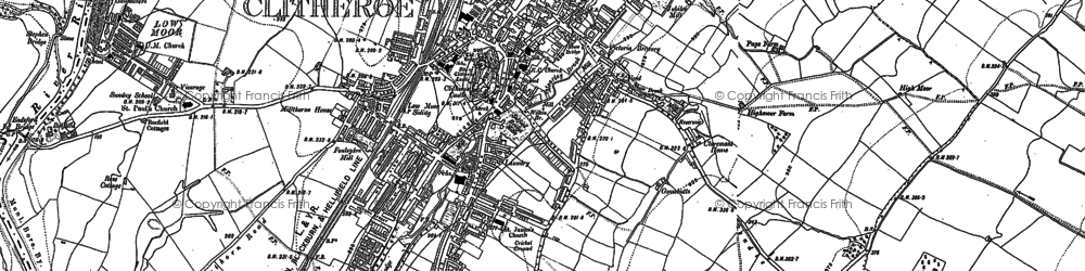 Old map of Clitheroe in 1910