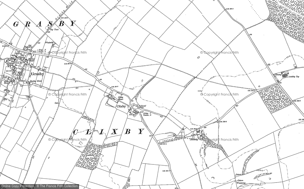 Old Map of Historic Map covering Audleby Low Covert in 1886