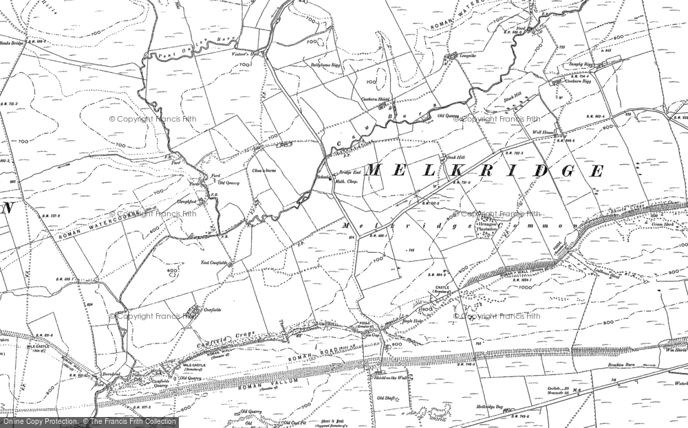 Old Map of Historic Map covering Allery Burn in 1895