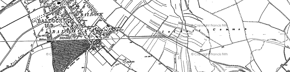 Old map of Clothall Common in 1896