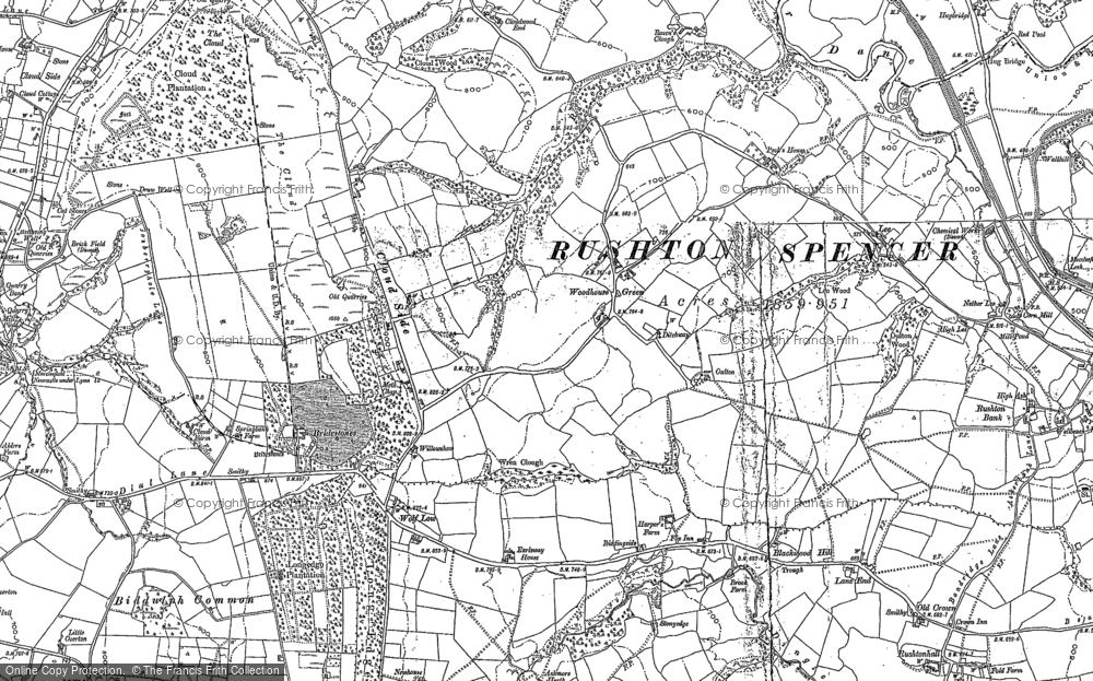 Old Map of Historic Map covering Woodhouse Green in 1897