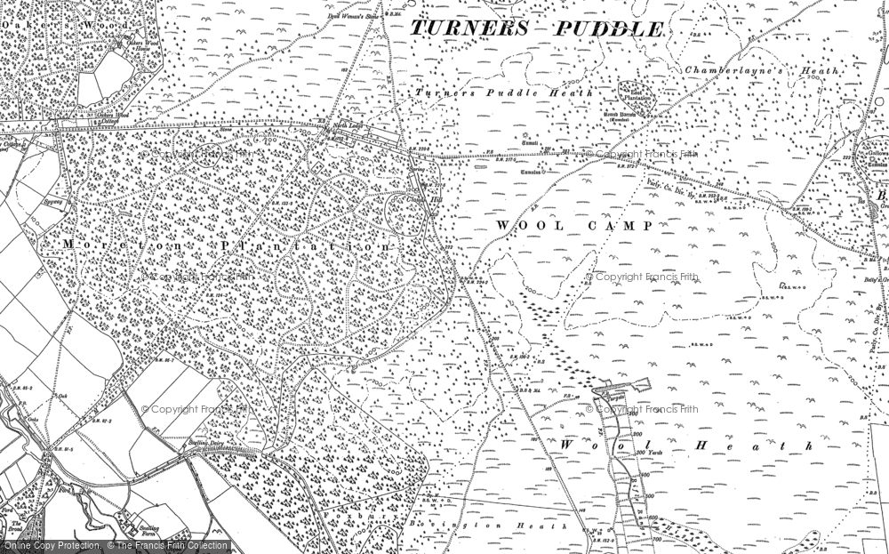 Old Map of Historic Map covering Tonerspuddle Heath in 1886