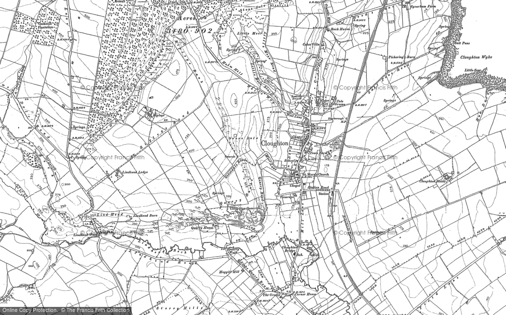Old Map of Historic Map covering Lindhead Beck in 1910