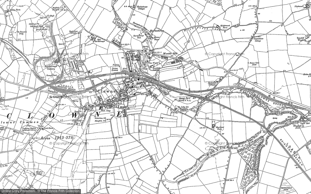 Old Map of Clowne, 1884 - 1897 in 1884
