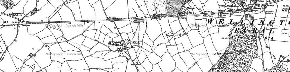 Old map of The Wrekin in 1881