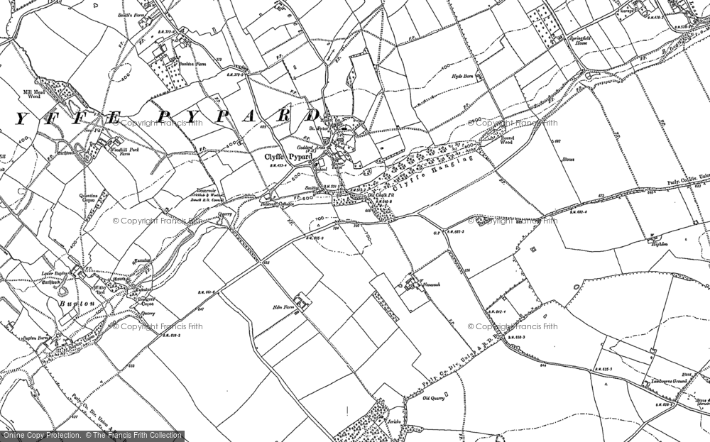 Old Map of Historic Map covering Woodhill Park in 1899
