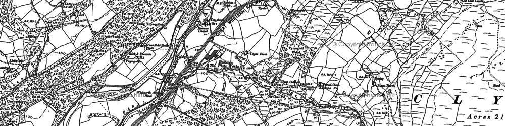 Old map of Ynys-dwfnant in 1897
