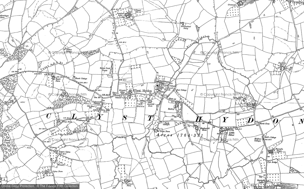 Old Map of Historic Map covering Woodhayes in 1887