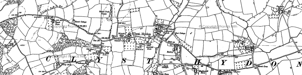 Old map of Woodhayes in 1887