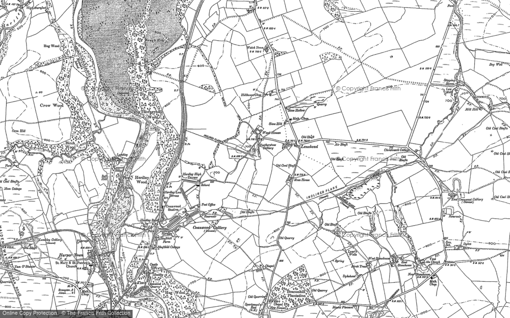 Old Map of Historic Map covering Ashholme in 1895