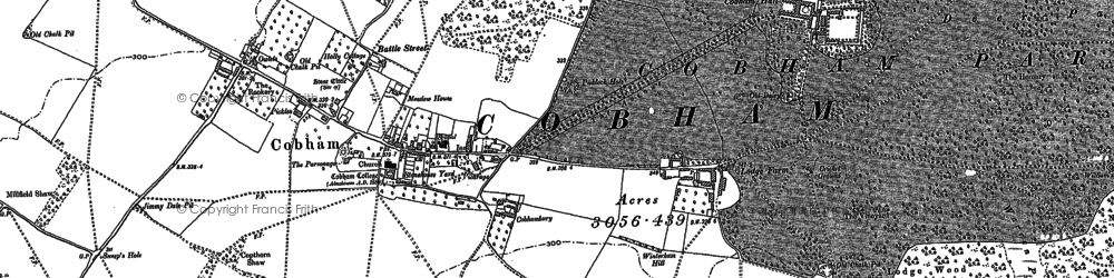Old map of Cobham in 1895