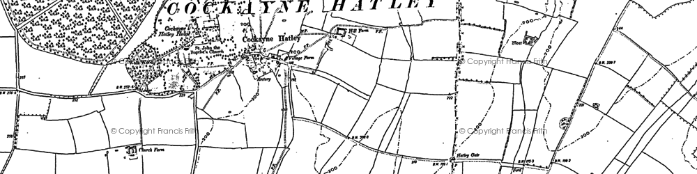 Old map of Cockayne Hatley in 1900