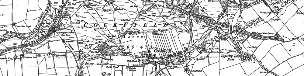 Old map of Cockfield in 1896