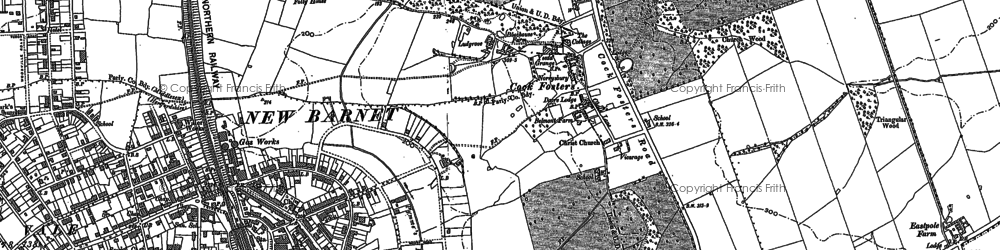Old map of Cockfosters in 1895