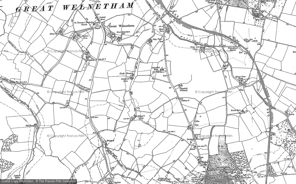 Old Map of Historic Map covering Link Wood in 1883