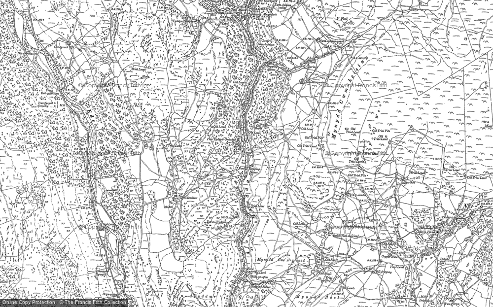 Old Map of Historic Map covering Afon Serw in 1887