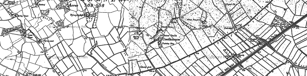 Old map of Coedkernew in 1899