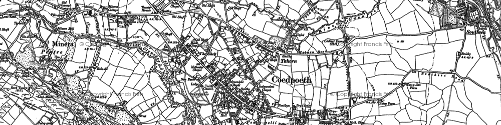 Old map of Coedpoeth in 1898