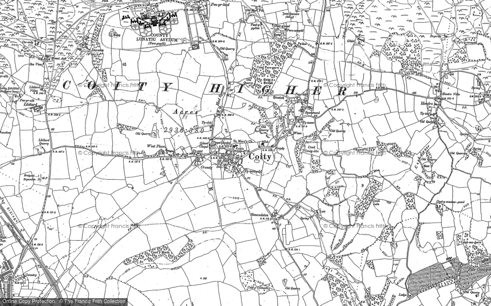 Old Map of Coity, 1897 - 1914 in 1897