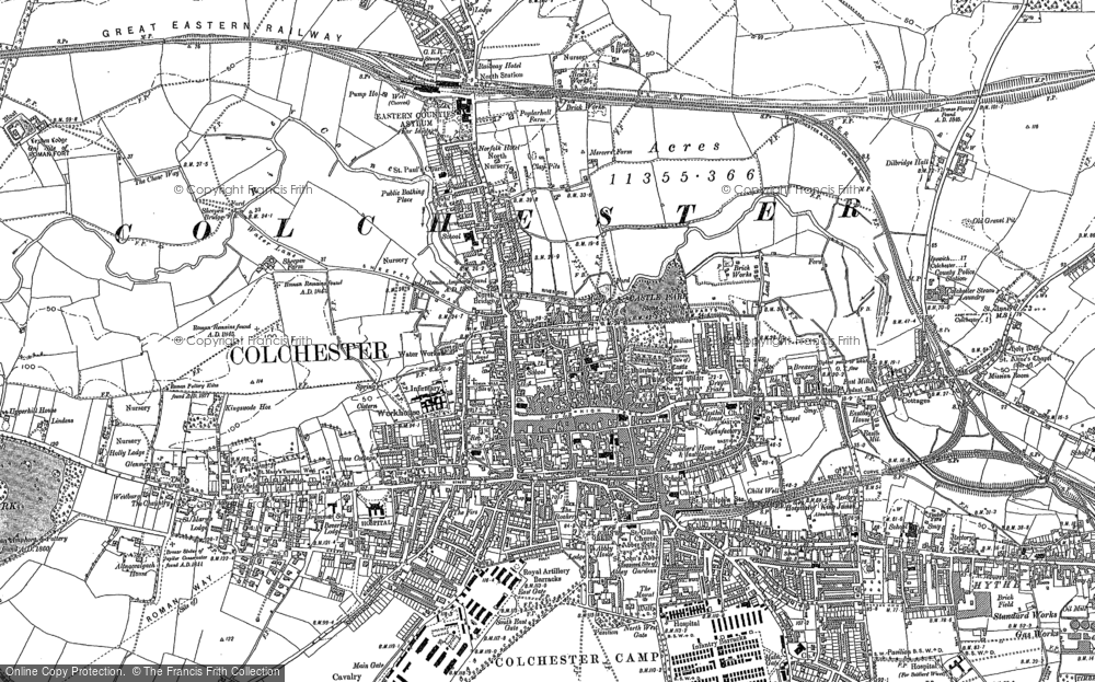 Old Map of Historic Map covering Abbey Field in 1896
