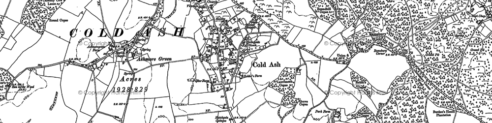 Old map of Cold Ash in 1898