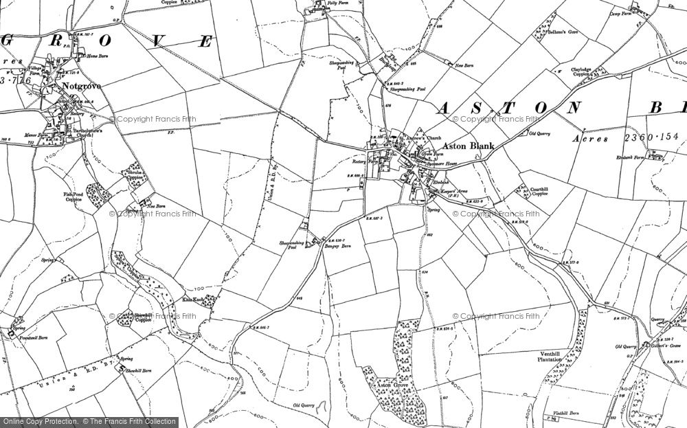 Old Map of Historic Map covering Aston Grove in 1883