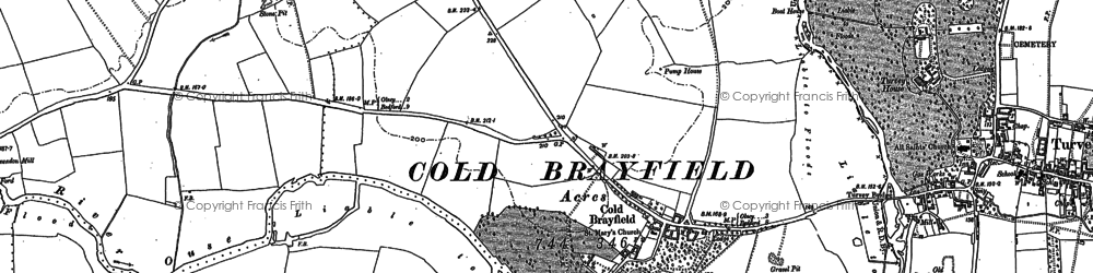 Old map of Cold Brayfield in 1899