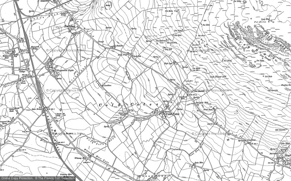 Old Map of Historic Map covering Whinney Mire in 1907