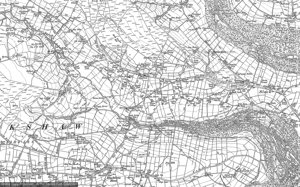 Old Map of Historic Map covering Rodmer Clough in 1905