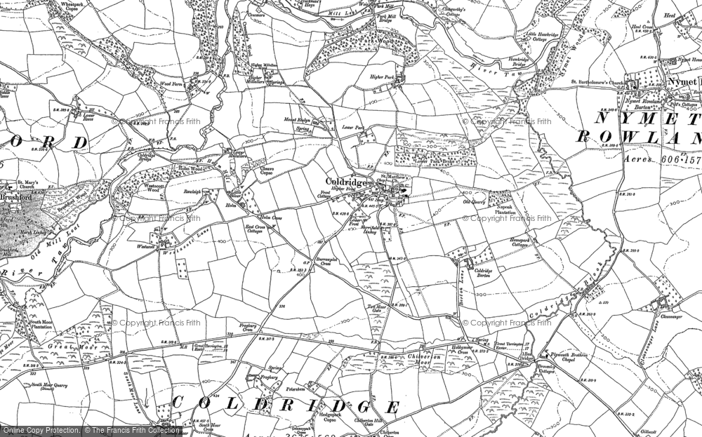 Old Map of Historic Map covering Aller Br in 1886