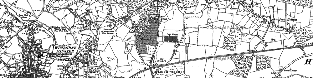 Old map of Colehill in 1887