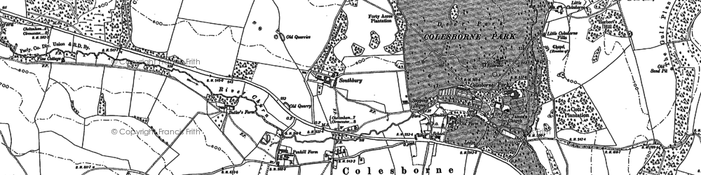 Old map of Colesbourne in 1883