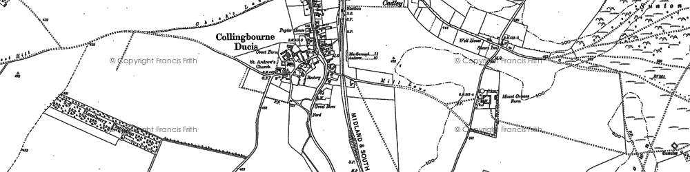 Old map of Collingbourne Ducis in 1899