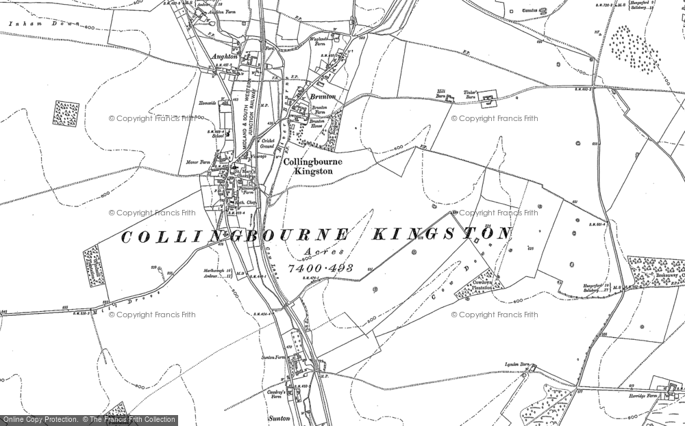 Old Map of Historic Map covering Aughton Down in 1899