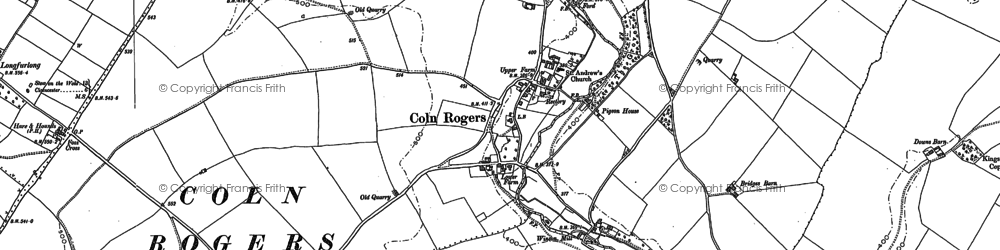 Old map of Coln Rogers in 1882