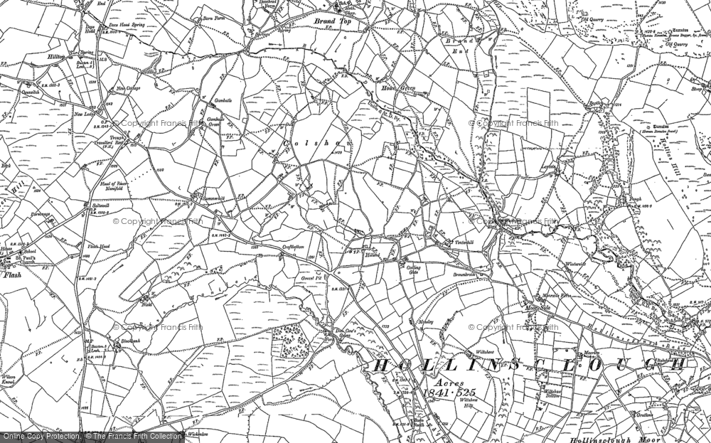 Old Map of Historic Map covering Axe Edge End in 1897