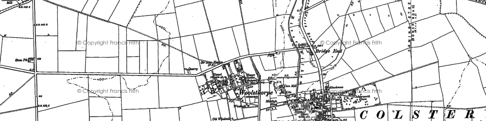 Old map of Woolsthorpe-by-Colsterworth in 1887