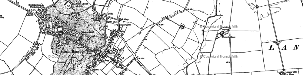 Old map of Colston Bassett in 1899