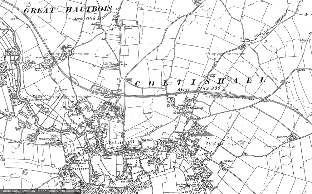 Old Map of Coltishall, 1880 - 1885 in 1880