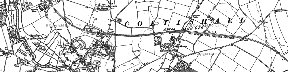 Old map of Coltishall in 1880