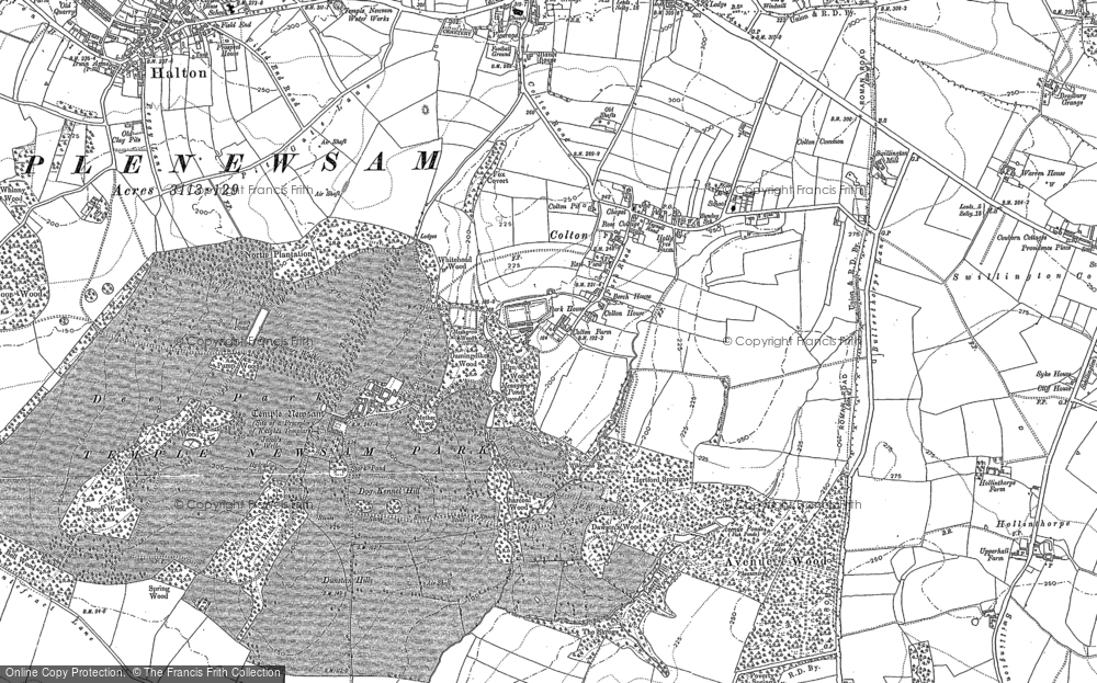 Old Map of Historic Map covering Austhorpe in 1890