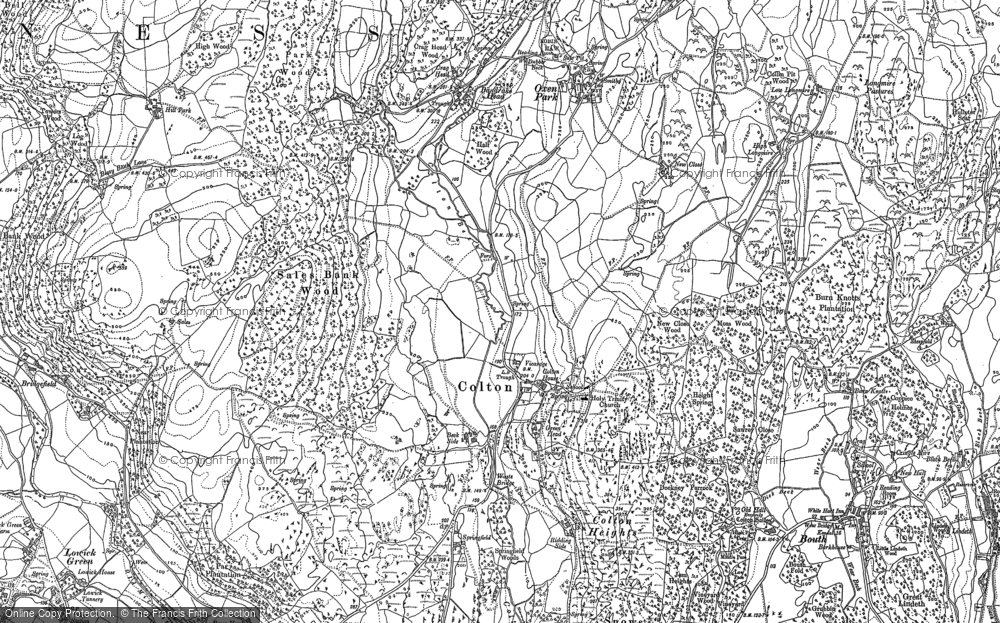 Old Map of Historic Map covering Lane Head in 1911