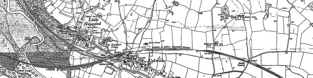 Old map of Colwich in 1881