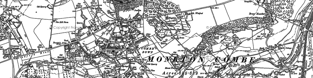 Old map of Combe Down in 1902