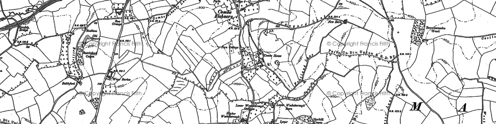 Old map of Wrigwell Hill in 1886
