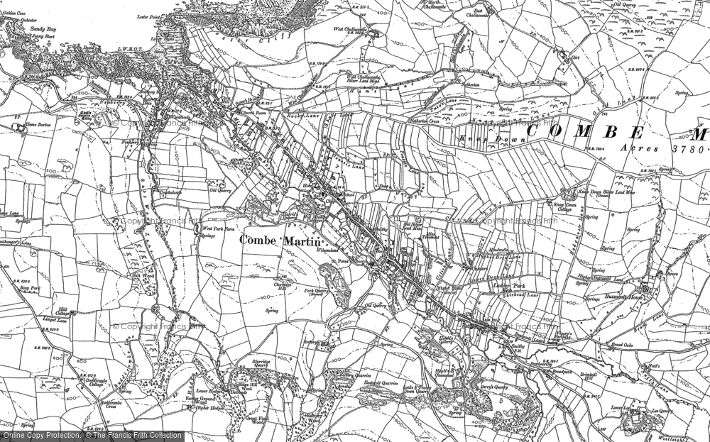 Old Map of Historic Map covering Lester Cliff in 1886